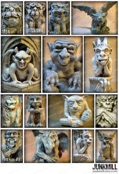 """★★★ INSTANT DOWNLOAD ★★★  In medieval times, these gruesome gargoyles and grotesques were said to ward off evil spirits. Today, they conjure the creative spirit. Perfect for Halloween!  IMAGE SIZES: Sizes vary; the largest measures 2.5 x 3.5 PRINT SIZE: Prints on 8.5"""" x 11"""" (size A4) paper.  ALSO AVAILABLE: 1 Squares: www.etsy.com/listing/58784599 2 Squares: www.etsy.com/listing/236916911 1 Circles: www.etsy.com/listing/93674917 1 x 2 Tiles: www.etsy.com/lis..."""