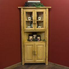Log Corner Cabinet is shown in Light Honey Finish.- Cabin Decor