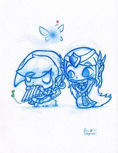 Blue+Doodle+#8:+Link+and+Zelda!