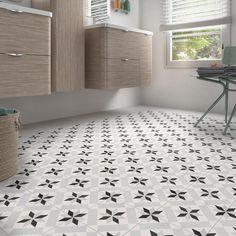 & & & & Tile floor, black wall effect, tile, cement Patrimony canvas l. cm NO NAME Desk Inspiration, Bathroom Inspiration, Diy Bathroom Decor, Small Bathroom, Bathroom Ideas, Black Walls, Home Staging, Modern Decor, Tile Floor