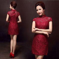 5cfee3b8c607b Wine red floral lace qipao short Chinese mandarin collar sheath dress  AiXiMei-15128 002 Mandarin