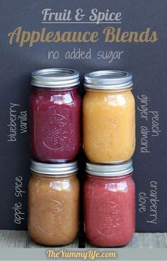 Fruit & Spice Applesauce Blends--slow cooker or stove top. No sugar added. Four different flavors of applesauce (spiced, blueberry vanilla, cranberry clove, and peach ginger almond) - from The Yummy Life Baby Food Recipes, Healthy Recipes, Delicious Recipes, Jelly Recipes, Snack Recipes, Jam Recipes, Healthy Meals, Do It Yourself Food, Chutneys