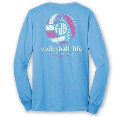 Volleyball Life Custom Monogram Long Sleeve T-Shirt by ShirtTraveler on Etsy https://www.etsy.com/listing/291634151/volleyball-life-custom-monogram-long