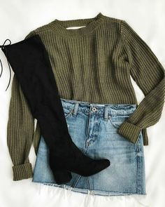 Know Thyself Olive Green Knit Cutout Sweater - Thyself Olive Green Knit Cutout Sweater - - Outfit ideen -. Mode Outfits, Trendy Outfits, Fashion Outfits, Womens Fashion, Fashion Clothes, Teen Fashion, Fashion Jewelry, Trendy Jewelry, Gold Fashion