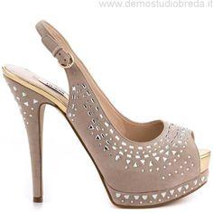 GUESS 'Gowan' Studded Light Natural Suede open-toe hidden platform slingback stiletto heel Sandal