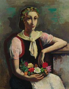 Karl Hofer – BLUMENMADCHEN (FLOWER GIRL), Oil on cardboard