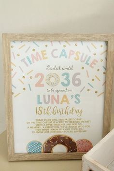 Love this time capsule idea for a first birthday party. A donut themed first… Love this time capsule idea for a first birthday party. A donut themed first birthday party. Ideas to help you plan the perfect first birthday for your little one! 1st Birthday Party For Girls, Donut Birthday Parties, One Year Birthday, Girl Birthday Themes, Girl Themes, 1st Birthday Girl Party Ideas, First Birthday Balloons, First Birthday Games, Donut Party