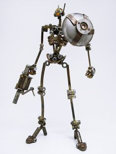 Welding Art Projects, Welding Crafts, Metal Crafts, Arte Robot, Robot Art, Tin Can Robots, Recycled Robot, Armored Core, Metal Robot