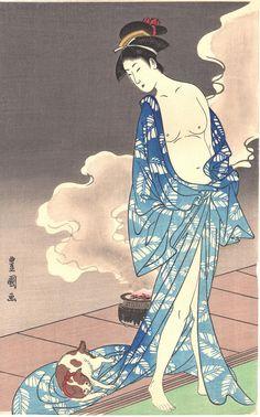 Japanese Ukiyo-e Woodblock print Toyokuni Woman with a