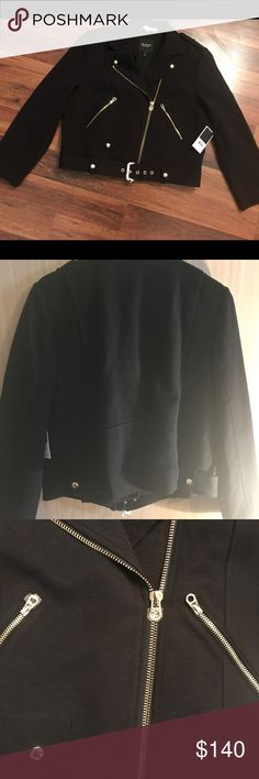 MAKE AN OFFER*NWT*Juicy Couture Moto Jacket (XL) This brand new still has tags on it as pictured. I bought right before moving and have not worn it yet. Too many hot days here. But.....it is a beautiful jacket! My loss, your gain!!!! Will also do an equal value trade. Juicy Couture Jackets & Coats