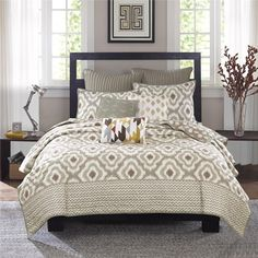 OLLIIX - Ankara 3 Piece Coverlet Mini Set Full/Queen Natural