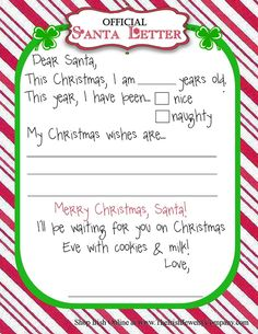 Official Letter for Santa ...