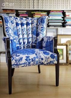 Glossy black wood & blue/white fabric