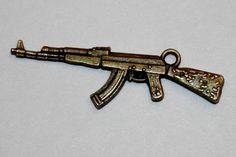 5 pcs. Pewter Alloy Riffle Charm Antique Brass by sedonastonesllc, $1.00