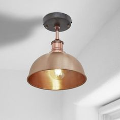 Brooklyn Vintage Small Metal Dome Flush Mount Light - Copper - 8 inch