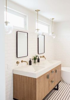 Stylish Modern Bathroom Inspiration • Industrial Mirrors With Gold Water Tap And White Tiles On The Walls
