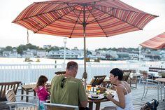 Enjoy a harborside lunch at Rocktide Inn, Boothbay Harbor, Maine