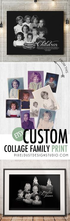 Custom Black & White Children Collage Design and Print- Just send me your old photos and I do all the work from there.