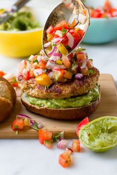 "verticalfood: ""Salsa Chicken Burgers with Cilantro-Avocado Sauce """