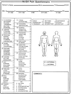 A printable form for assessing and reporting pain, with