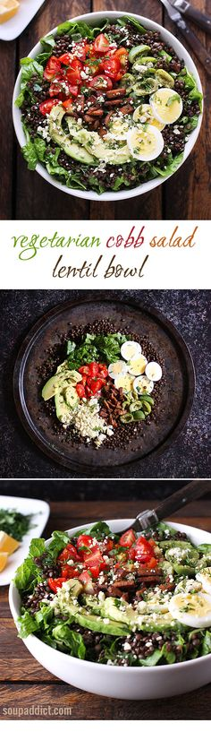 Vegetarian Cobb Salad Lentil Bowl - a super healthy and delicious version of the traditional cobb salad, with veggies and smoky tempeh over black beluga lentils.