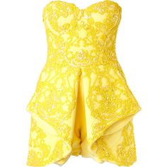 Mikael D. Strapless Embellished Playsuit ($5,629) ❤ liked on Polyvore featuring jumpsuits, rompers, playsuit romper, yellow romper, strapless rompers, silk romper and strapless romper