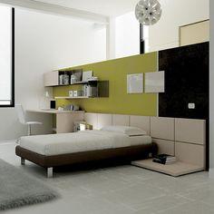 Il sistema di pareti attrezzate con #boiserie Tile valorizza lo spazio dedicato al riposo. Si tratta di una doppia pannellatura componibile sia in altezza che in larghezza. Team for Young www.moretticompact.com