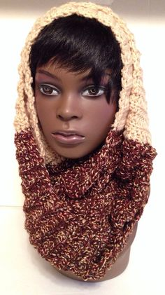 Brown/Tan Multi Color Infinity Scarf by HersheeUniquedesigns, $35.00