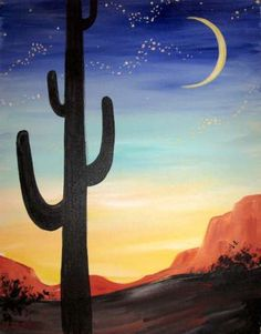 Painting with Canvas is a mobile valley-wide paint and sip art studio. You can find us at local bars and watering holes sharing our love of art. Choose an open class, or host a private party. Wine Painting, Cactus Painting, Easy Canvas Painting, Cactus Art, Cactus Plants, Watercolor Cactus, Cactus Decor, Desert Art, Desert Sunset