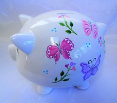 Personalized Piggy bank piggy bank with butterflies painted Personalized Piggy Bank, One Stroke Painting, Plate Art, Craft Party, Cool Stuff, Stuff To Buy, All Things, Piggy Banks, Clip Art