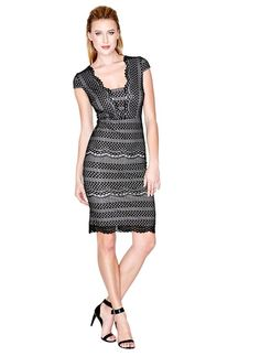 Šaty Guess by Marciano Andy Cap-Sleeve Lace Dress černé - G-Butik. 16ec9cab3e1