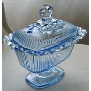 Ice Blue Covered Candy Dish