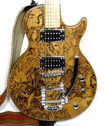 Guitar With Wood Burning Pyrography Design