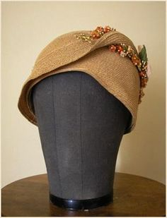Flapper Straw Cloche Hat, 1920s.