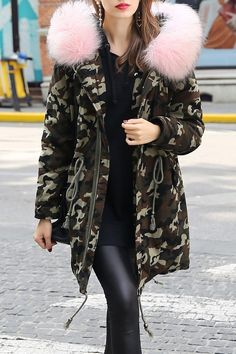 Fur Hooded Camouflage Zip Parka Coat