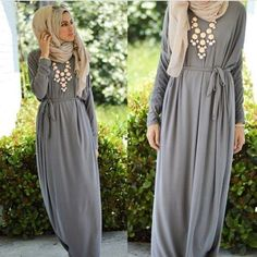 long gray maxi dress, Hijab chic from the street http://www.justtrendygirls.com/hijab-chic-from-the-street/