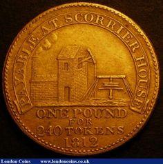 CORNISH PENNY (1812) | Image # 2/2: 'Scorrier House Davis 25a in gilt copper GVF, Rare.'     ✫ღ⊰n