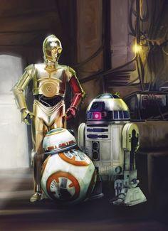 Papírová fototapeta na zeď 4 dílná Hvězdné války 4-447 / Fototapety Star Wars Three Droids (184 x 254 cm) Komar