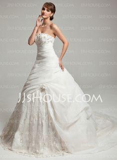 Wedding Dresses - $246.69 - A-Line/Princess Sweetheart Sweep Train Organza Charmeuse Wedding Dresses With Lace Beadwork (002017546) http://jjshouse.com/A-Line-Princess-Sweetheart-Sweep-Train-Organza-Charmeuse-Wedding-Dresses-With-Lace-Beadwork-002017546-g17546