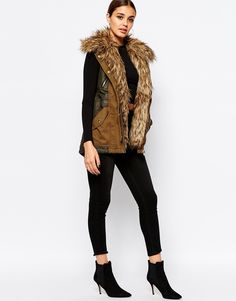 Image 4 of River Island Parka Vest With Faux Fur Collar