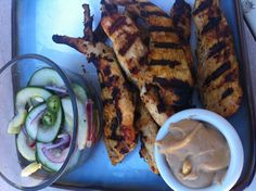 Day #95 Chicken Satay with Satay Sauce and Cucumber Salad.