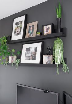 DIY Photo Ledge Shelves (Inspired by Ikea's Mosslanda Line) - Learn how to make chic DIY picture ledge shelves inspired by Ikea's Mosslanda line - Picture Ledge Shelf, Photo Shelf, Ikea Photo Ledge, Photo Ledge Display, Ikea Mosslanda, Living Room Designs, Living Room Decor, Bedroom Decor, Shelves In Bedroom