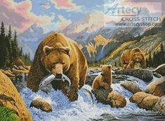 Bear and Cubs Cross Stitch Pattern