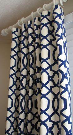 navy moroccan curtains | Pair of Decorative Designer Custom Curtains Drapes Navy on Cream ...