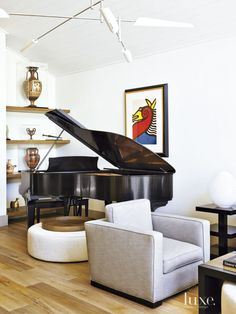 Contemporary White Living Room with Grand Piano