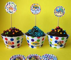 Wiggles toothpick cupcake toppers and cupcake cases