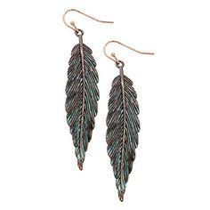 Boho chic statement dangle earrings Patina verdigris color detailed feather decor Size: width length French wire style Packaged in a lovely gift box Feather Jewelry, Feather Earrings, Boho Earrings, Bohemian Jewelry, Drop Earrings, Fish Hook Earrings, Copper Earrings, Patina Color, Fashion Jewelry