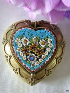 Italian MICRO MOSAIC Heart Shaped Pill Trinket Snuff Box