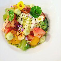 Buratta/avocado/tomato varieties / basil #foodporn #foodlover #ispc #theartofplating #chefstalk by dieterpauwels