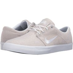 Nike SB Portmore Canvas Premium (White/White/Black) Men's Skate Shoes (70 CAD) ❤ liked on Polyvore featuring men's fashion, men's shoes, men's sneakers, white, men's low top shoes, mens black and white sneakers, mens leopard print sneakers, nike mens sneakers and mens canvas shoes